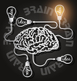 paper cut of brain and light bulbs with usb cables vector image