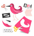 paper cut pink bird parts with scissors isolated vector image vector image