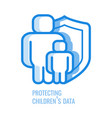 protecting children data line icon - abstract vector image