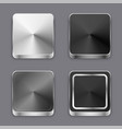 realistic 3d brushed metal buttons or icons set vector image vector image