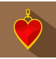 Red heart shape gemstone pendant icon flat style vector image vector image