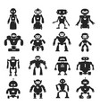 robot black icon set characters for game media vector image vector image
