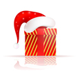 Santa Claus hat on the present vector image vector image