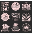 Seafood Emblem Set On Dark vector image vector image