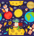 seamless pattern with moon rover and animals vector image vector image