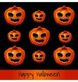 Set of nine pumpkins for Halloween vector image