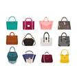 set of stylish women s handbags - tote shopper vector image
