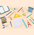 students wooden desk vector image vector image