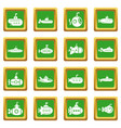 submarine icons set green square vector image vector image
