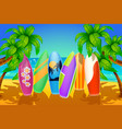 surfboards on beach vector image vector image