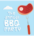 the annual bbq party meat on fork background vector image vector image