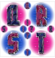 Volume letters QRST with shiny rhinestones vector image vector image