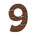 Wood Numbers 9 isolated on the white vector image