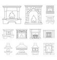 different kinds of fireplaces outline icons in set vector image