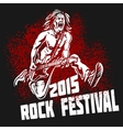 Rock star with guitar on grunge background - rock vector image