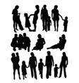 mother and son activity silhouettes vector image