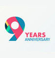 9 years anniversary emblem anniversary icon or vector image