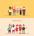 a group young and a group elderly people two vector image vector image