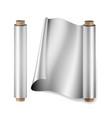 aluminium foil roll close up top view vector image vector image