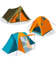 Awning tourist camping tents icons collection