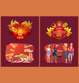 barbecue party emblems and friends near grill vector image vector image