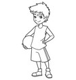 basketball boy on white line art vector image