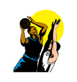 basketball player shooting ball vector image vector image