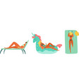 beach summer people vacation ocean woman relax vector image vector image