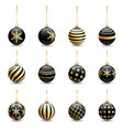 black christmas balls golden ornament set vector image