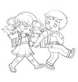 boy and girl have fun together go to school vector image vector image
