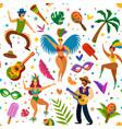brazilian carnival seamless pattern dancers vector image vector image