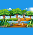 cartoon of zookeeper boy and girl with dog in the vector image vector image