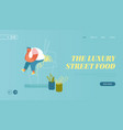 chinese fastfood website landing page fat man vector image