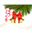 christmas card with bells and bow vector image vector image