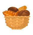 closeup of homemade wicker basket with bakery