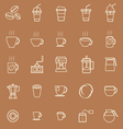 Coffee line icons on brown background vector image vector image