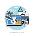 Concept of workplace with laptop and briefcase vector image vector image