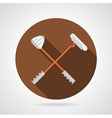 Crossed golf clubs flat icon vector image