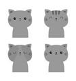 cute cat set gray face icon funny kawaii doodle vector image vector image