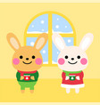cute rabbits with warm drink at home cartoon vector image vector image