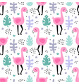 cute seamless pattern funny flamingo vector image