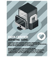 data center color isometric poster vector image vector image