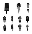 different ice cream black icons in set collection vector image vector image