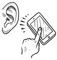 doodle ear phone call listen vector image vector image