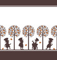 endless border with leprechauns in fall garden vector image