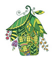 fairy house in the form of flowers and leaf vector image vector image