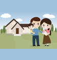 family with french bulldog puppy new home vector image