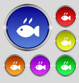 Fish dish Icon sign Round symbol on bright vector image