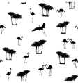 Flamingo birds tropical palm trees outline pattern vector image vector image