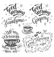 Good morning brush calligraphy set vector image